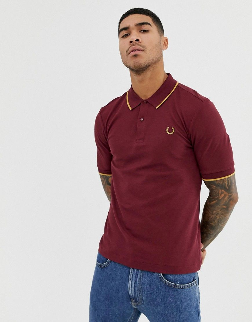 b1352d24 FRED PERRY X MILES KANE TIPPED PIQUE POLO IN BURGUNDY - RED ...