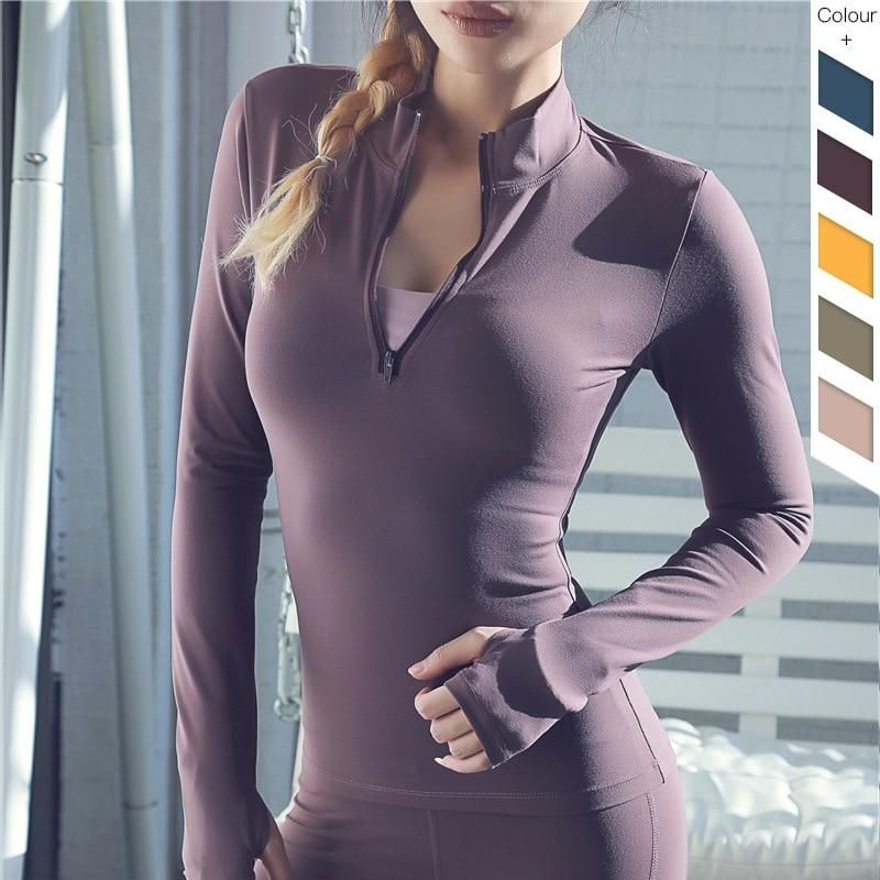 Ninedaily Womens Long Sleeve Workout Shirt Winter Fitness Activewear Casual Top