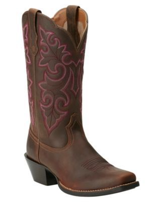 9beaf8418ee Ariat Women's Powder Brown Round Up Punchy Square Toe Western Boot ...