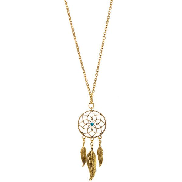 Simply Reese Goldtone Dream Catcher Pendant Necklace (£7.69) ❤ liked on Polyvore