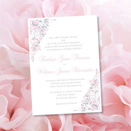Wedding Invitation Template Gianna Blush Pink Silver Gray