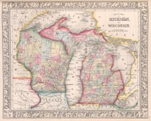 County map of #Michigan, and #Wisconsin. (1863) #map