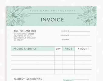 Invoice Template Photography Invoice Business Invoice Receipt - Photography invoice template