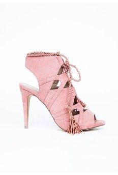 Lace Up Tassel Heeled Sandals Rose