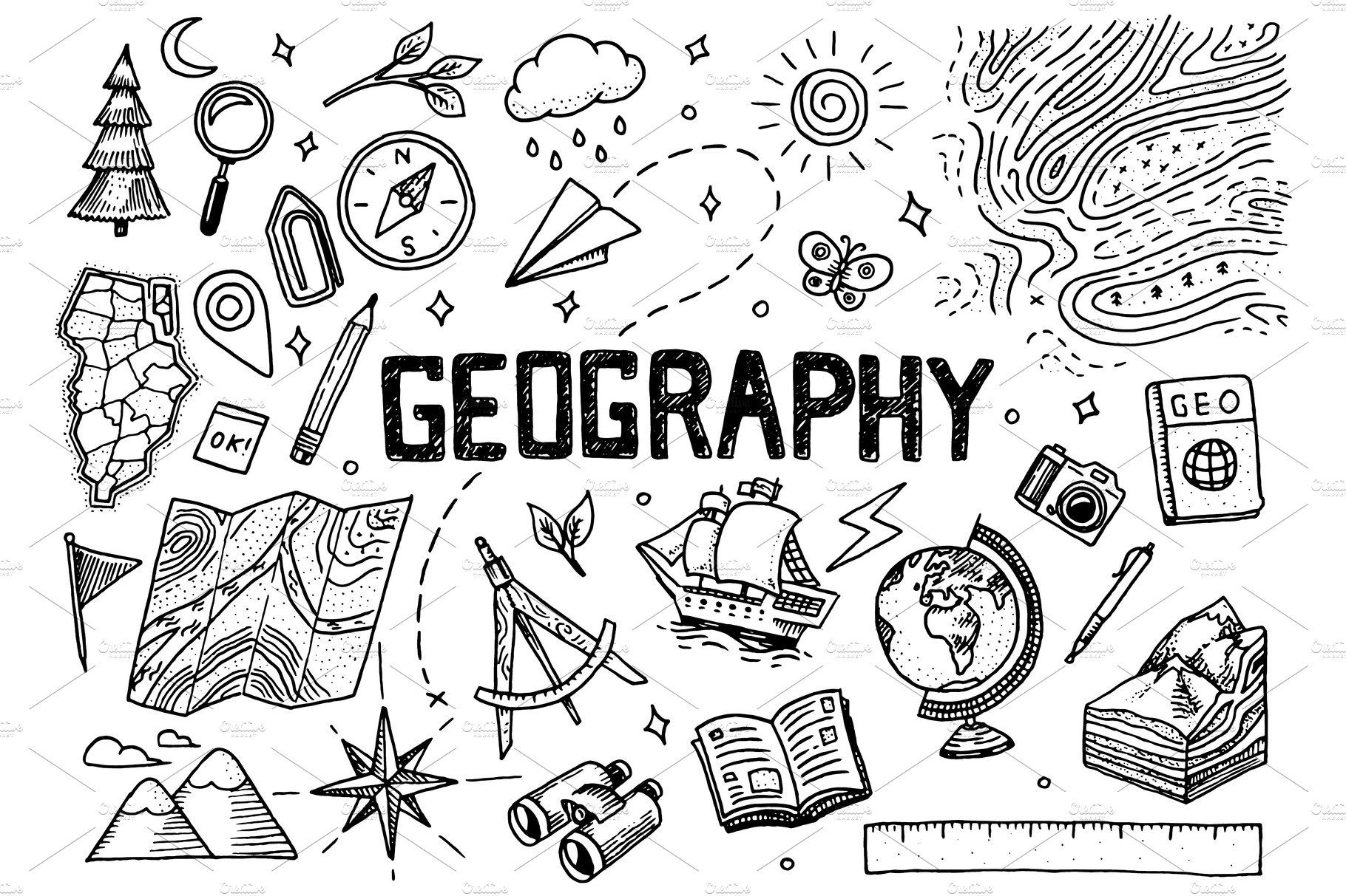 Set of geography symbols | Geography project, Geography ...
