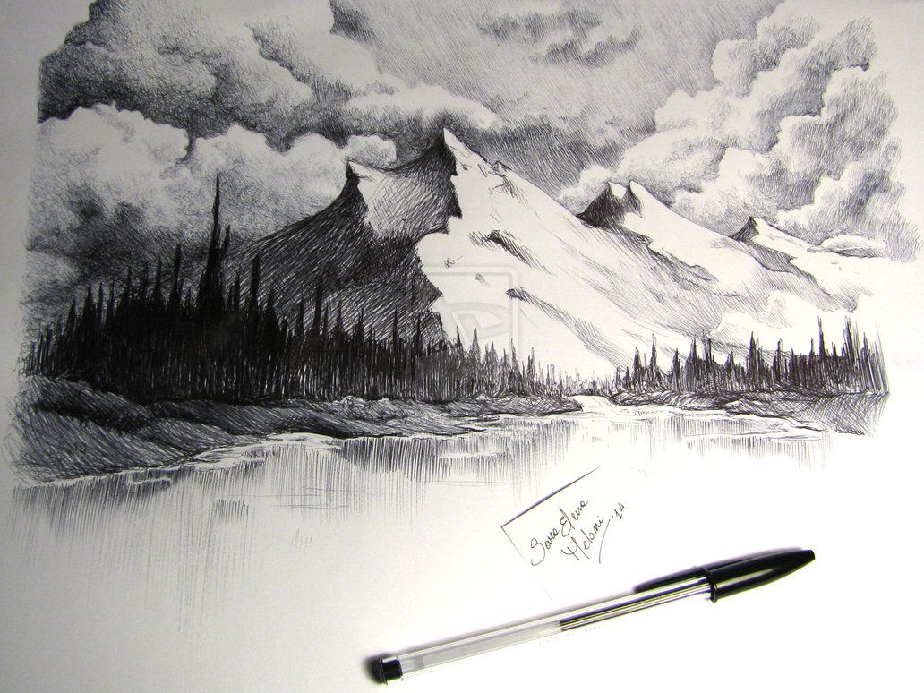 Snow Capped Mountains Drawing By Sarameloni Landscape Pencil Drawings Landscape Drawings Mountain Drawing