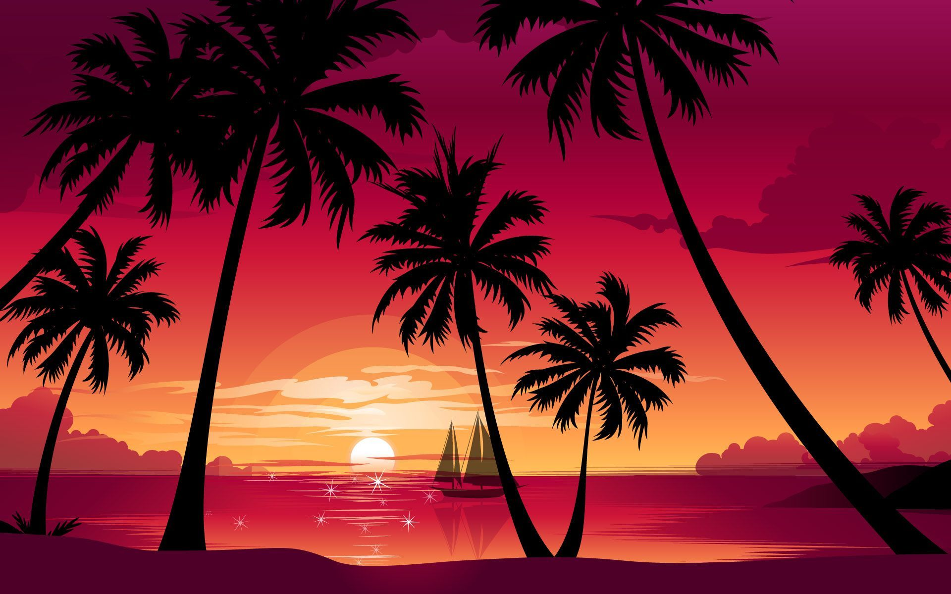 Palm Tree Sunset Wallpaper Wallpapersafari Beach Sunset