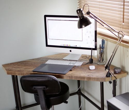 DIY Industrial Style Pub Height Corner Desk, With Drafting Chair And  Architect Lamp. Sweet!