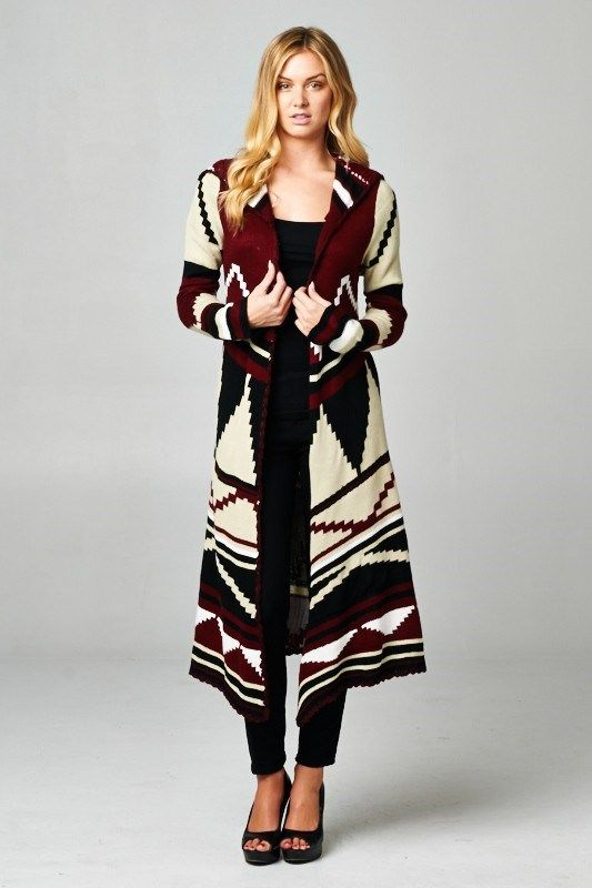 An everyday cozy cardigan features a tribal print and a hoodie ...
