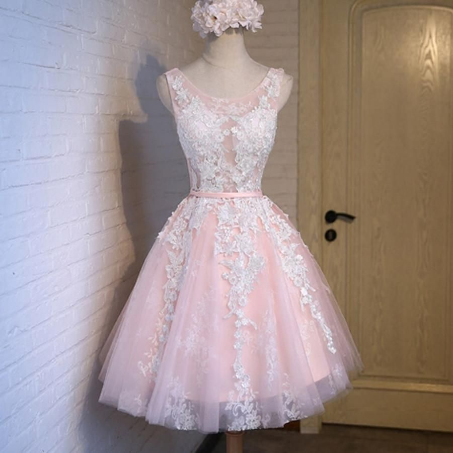Short pink lace tight cute charming freshman homecoming prom gowns