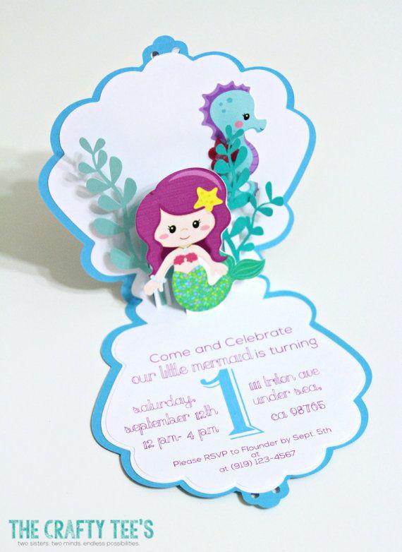 Meerjungfrau Mermaid Einladungen Popup Karte Von TheCraftyTees