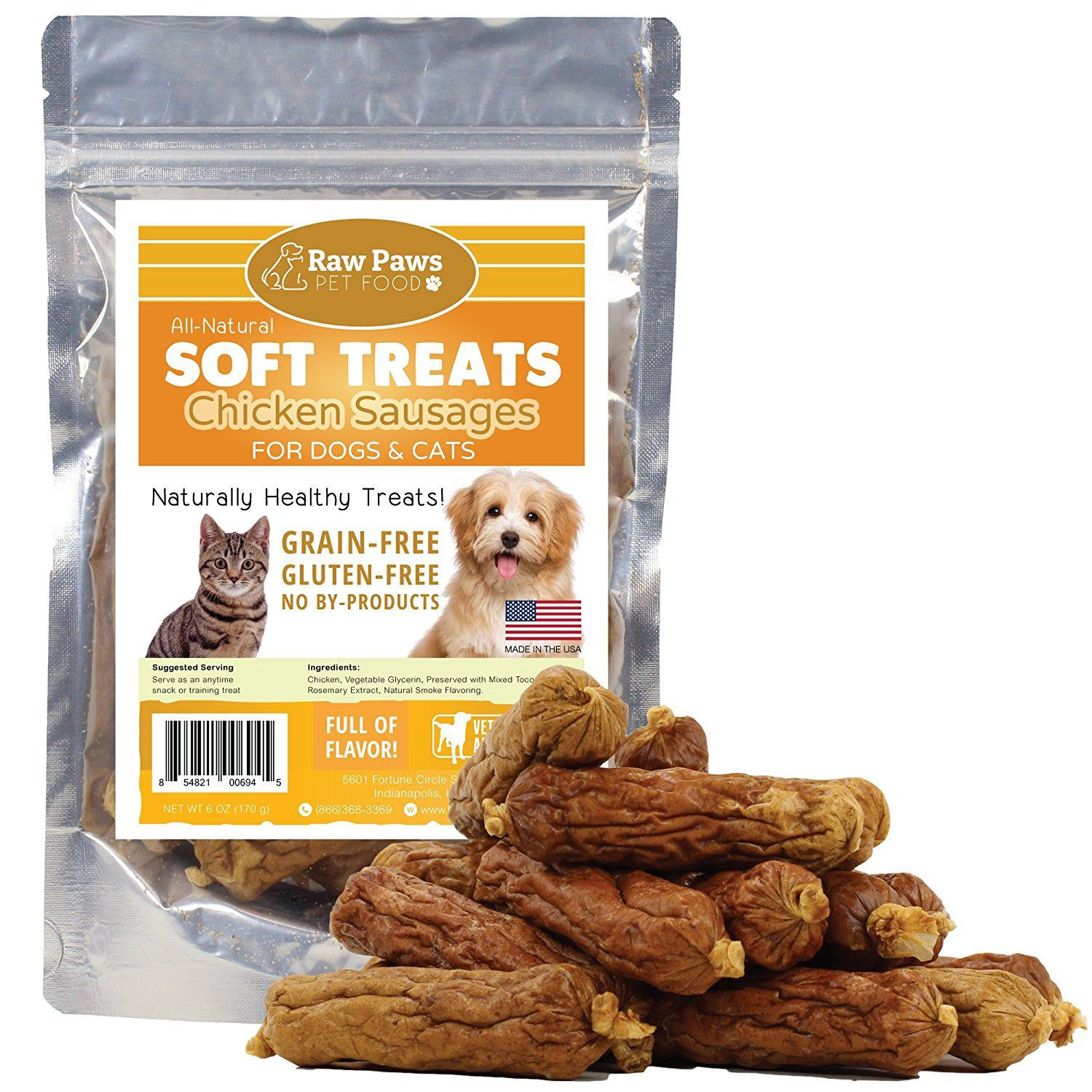 Raw Paws Pet Premium Soft Treats for Dogs and Cats, 6