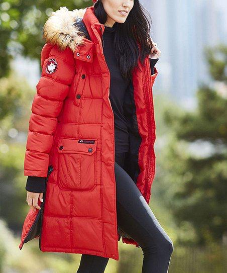Canada Weather Gear Red Faux Fur Long Hooded Puffer Coat Women Plus Zulily Womens Winter Coat Fur Hood Fur Hood Jacket Red Faux Fur