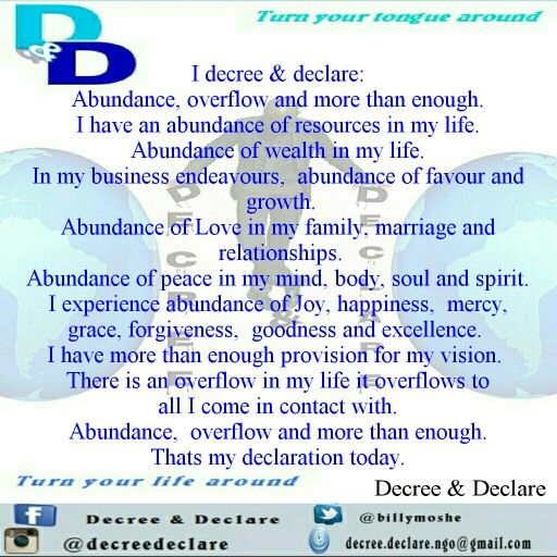 Decree and declare abundance overflow and more than enough