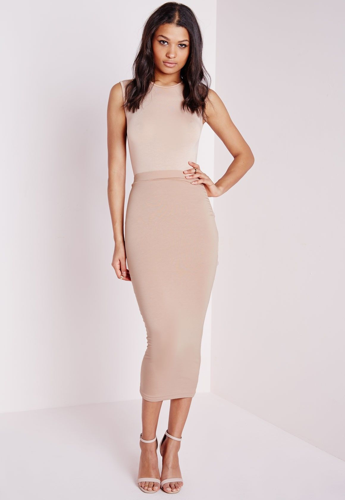 a808052fb12 Missguided - Tall Longline Jersey Midi Skirt Nude
