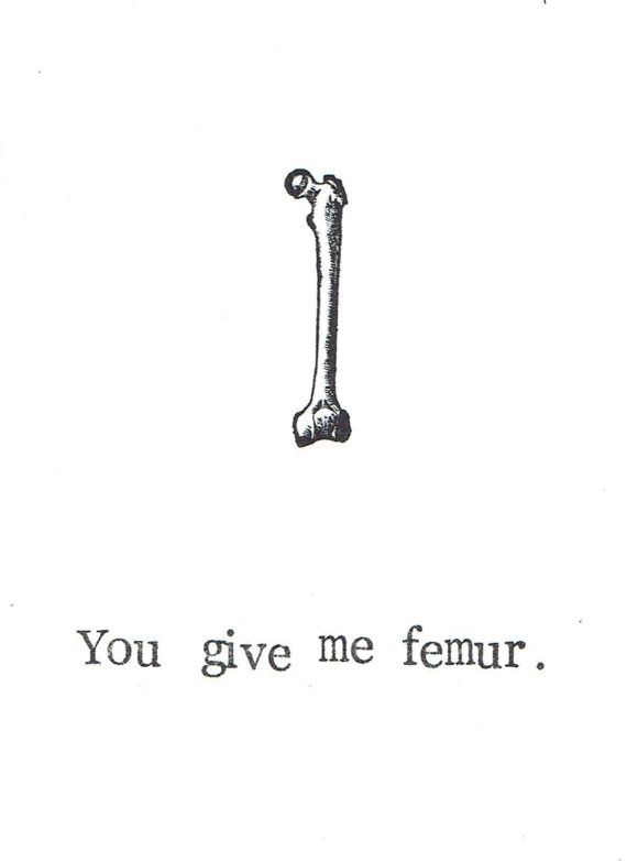 You Give Me Femur Card   Funny Skeleton Bones Anatomy Science Pun ...