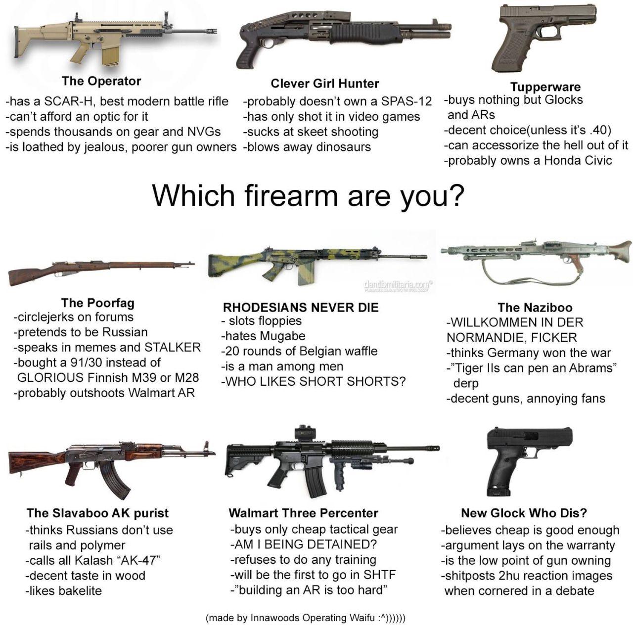 Which Firearm Are You Guns Military Guns Guns Tactical