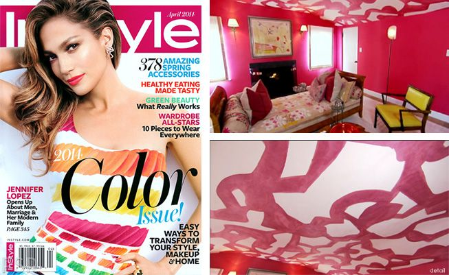 InStyle's feature on Amber Valletta's bedroom with a hand-painted ceiling from Porter Teleo.