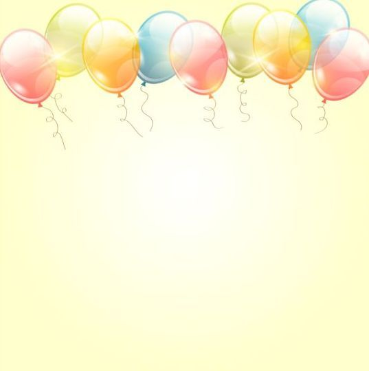 Birthday background with colored transparent balloons vector 05