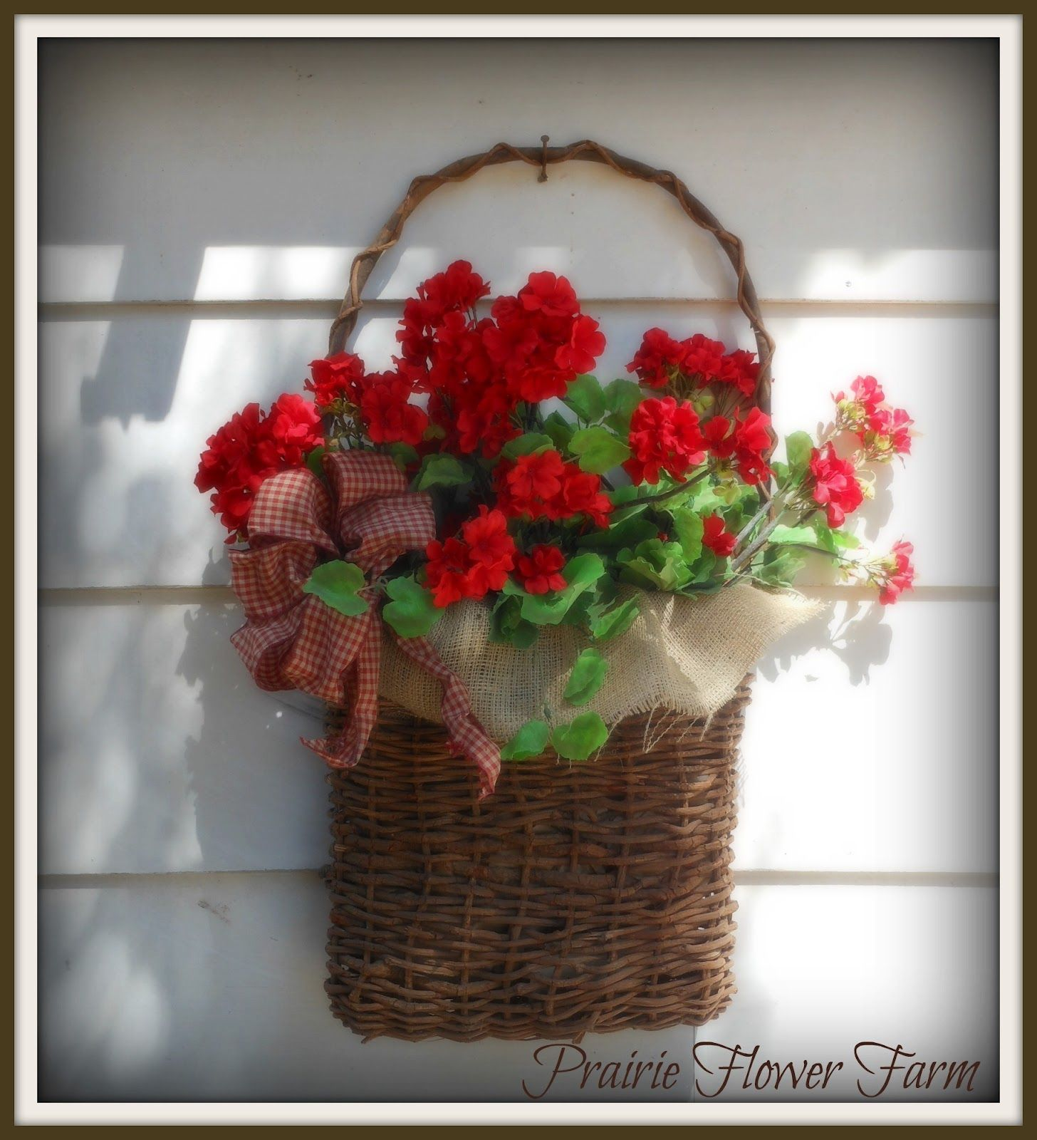 Easy To Make Basket Burlap Fabric Homemade Gingham Bow