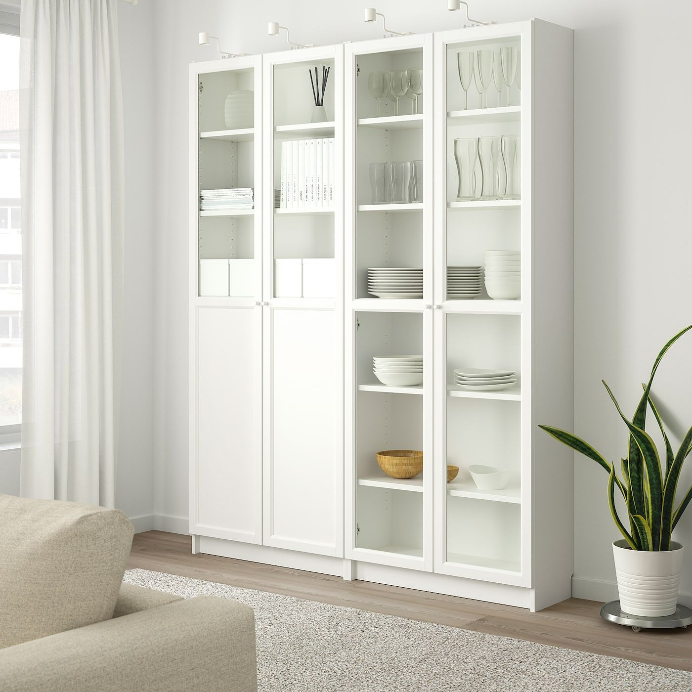 Billy Oxberg Bookcase With Panel Glass Doors White Glass Ikea In 2020 Bookcase With Glass Doors White Paneling Ikea Closet Doors