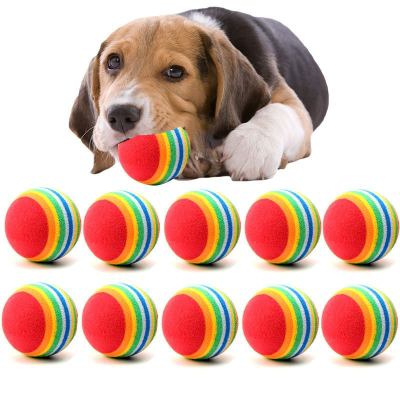 4 94 10 Pack Squeaker Tennis Balls Toys Puppy Play Pets For