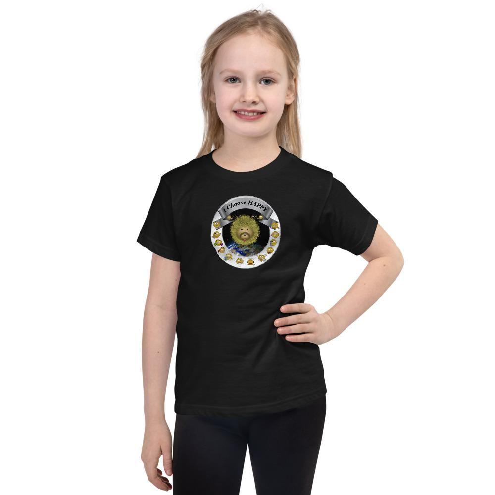 I Choose Happy Short sleeve kids t-shirt - Black / 2yrs