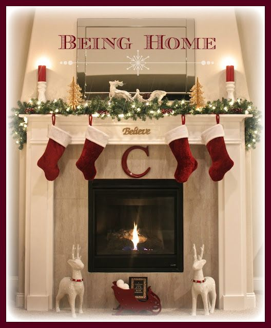 Christmas Fireplace Mantel - Night Christmas Pinterest - christmas decorations for mantels