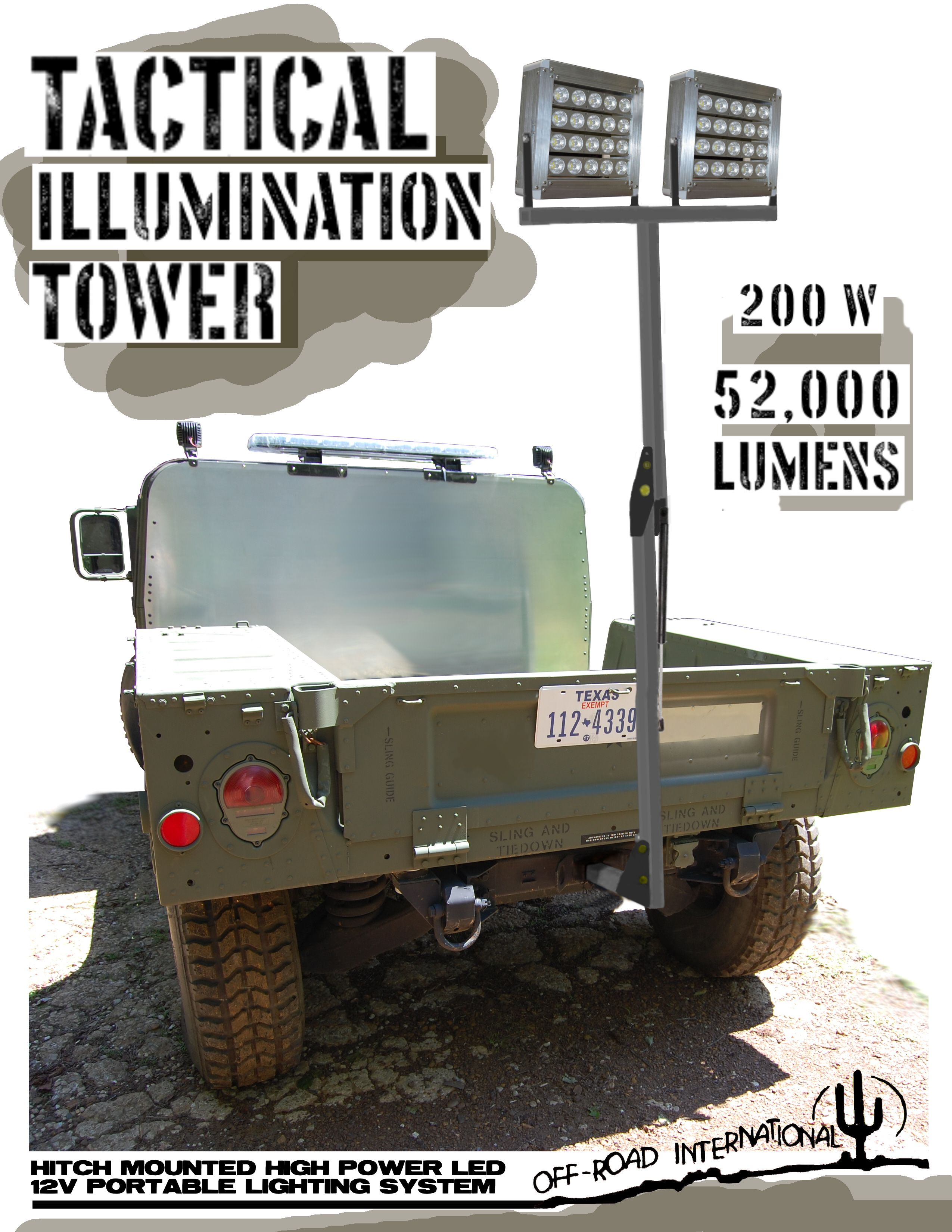 Extremely Bright Tactical Light Tower By Off Road International Installs In You Trailer Hitch Tactical Light Offroad Trailer Hitch