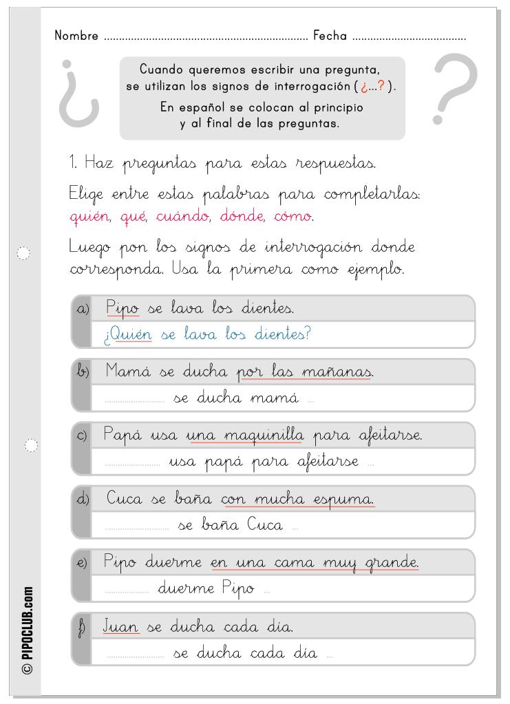 Signos De Interrogación Ortografía Primaria Enseñando