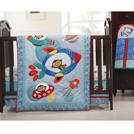 Cute Astro Monkey 4pc Bedding Set Baby Crib Bedding