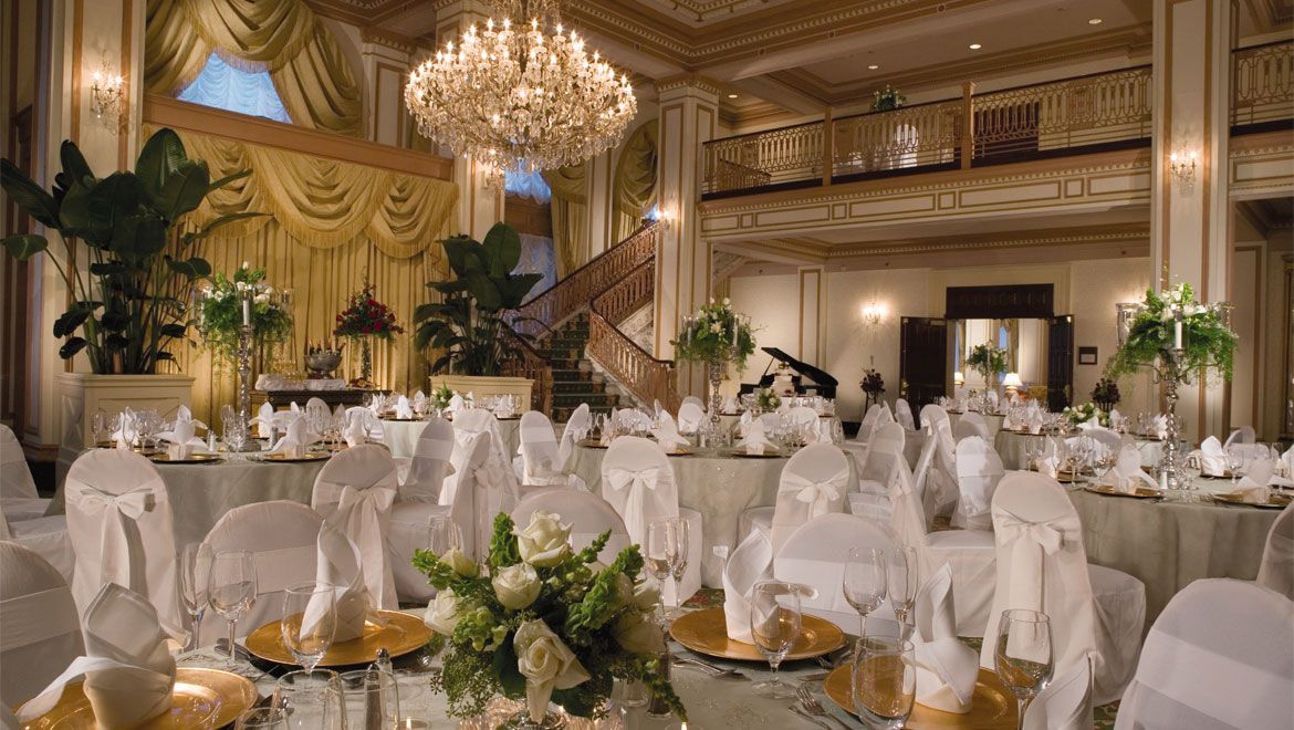 Wedding reception setup at severin hotel wedding reception and lobby with a sweeping marble staircase have proven to be the preeminent venue for wedding ceremonies and receptions in downtown indianapolis junglespirit Images