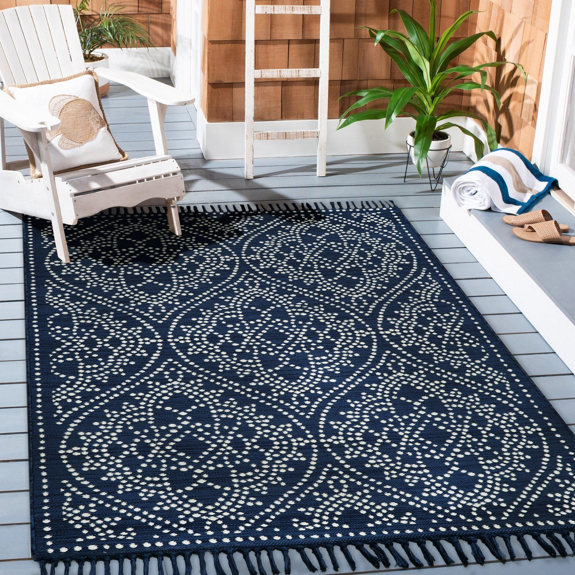 jeweled medallion woven outdoor rug