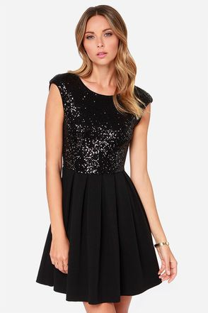 With the Because The Night Black Sequin Skater Dress, you'll shine brighter than the moon and stars!
