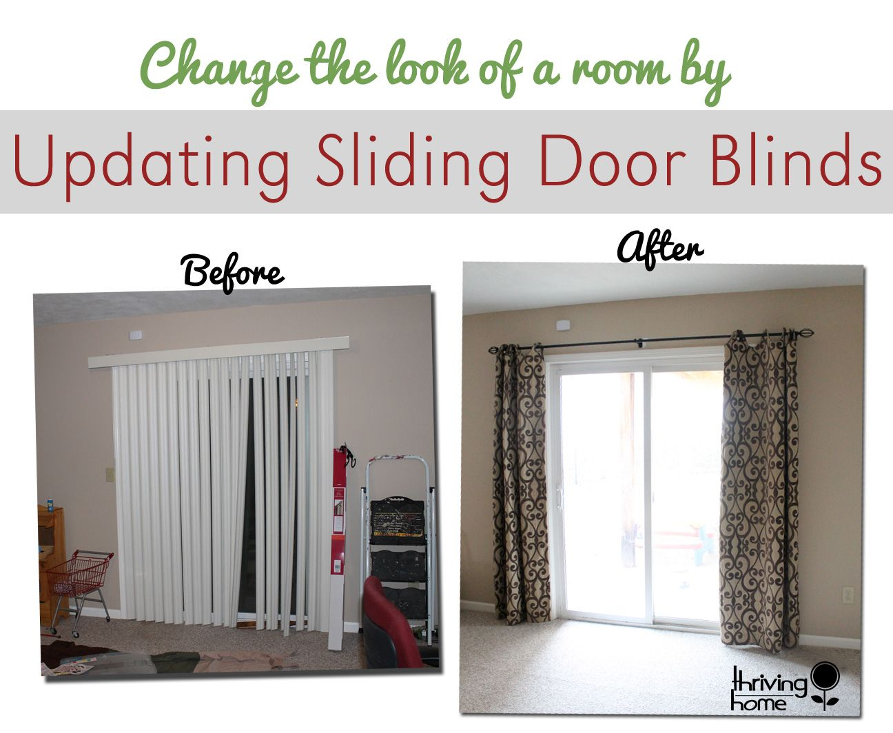 Patio door curtains and blinds - Super Easy Home Update Replace Those Sliding Blinds With A Curtain Rod And Curtains Curtains For Sliding Doorspatio