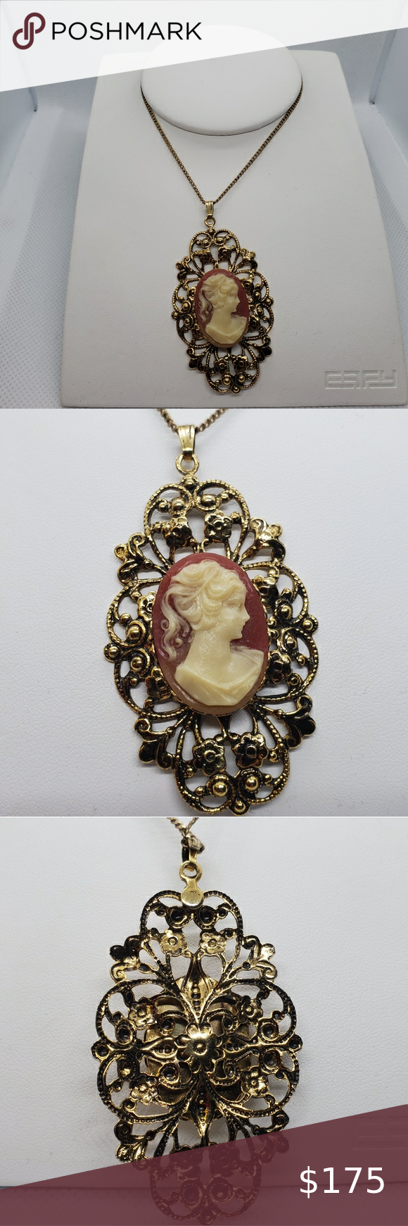 Vintage 12 Karat Gold Necklace Cameo Pendant In 2020 Cameo Pendant Womens Jewelry Necklace Pendant