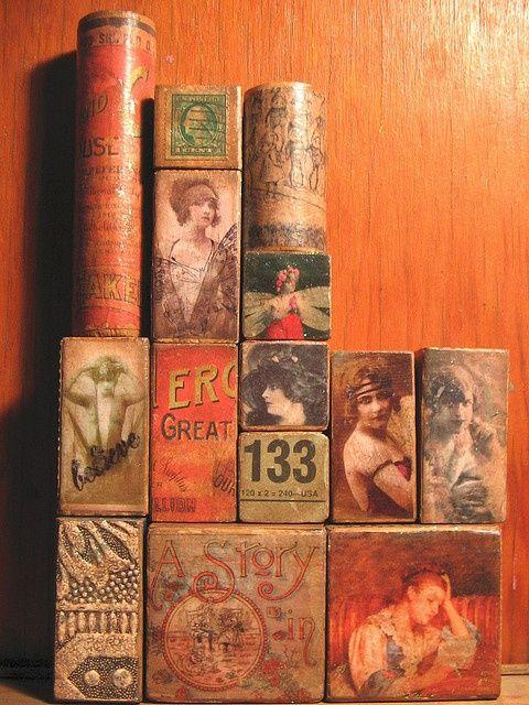 """rosebiar: """" (via Pinterest) altered art blocks by DOTTY PEDI on Flickr Amber Cheryl """""""
