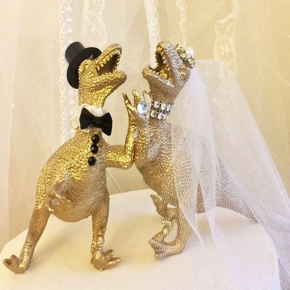 Dinosaur Wedding Cake Topper, Raptor, T Rex, Wedding, Cake Topper
