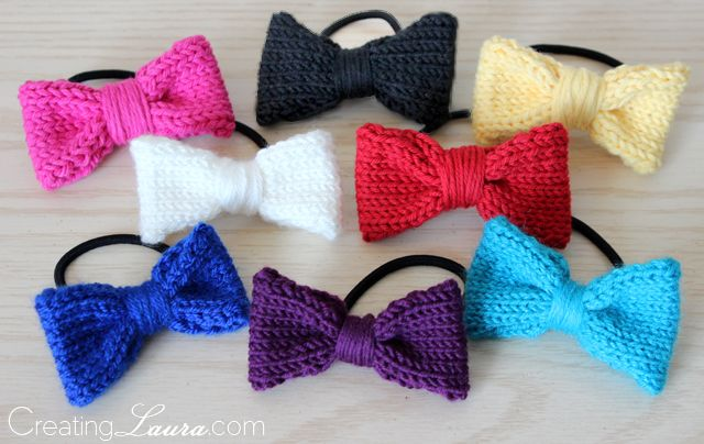 Fast And Simple Little Knit Bow Hair Ties That Are Perfect For Using