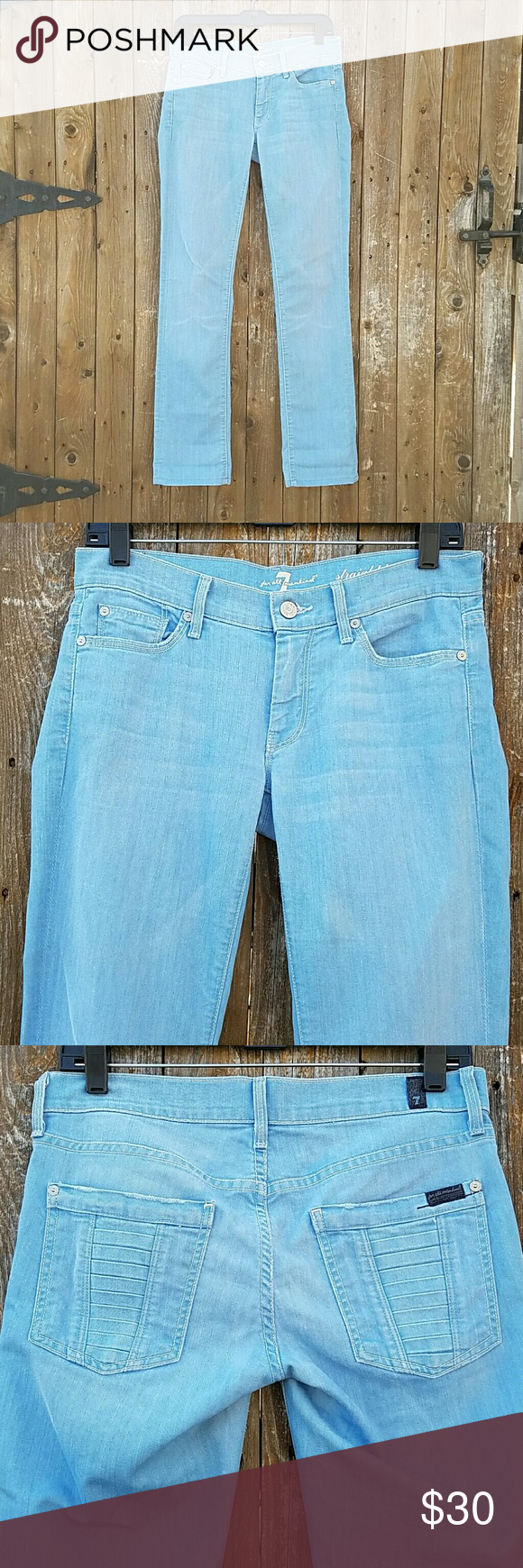 Seven7 For All Mankind Straight Leg Blue Jeans Light Blue Straight Leg 5 pockets Waist is Rise is Inseam is  Leg Opening is 70% Cotton & 30% Polyester Seven7 Pants Straight Leg