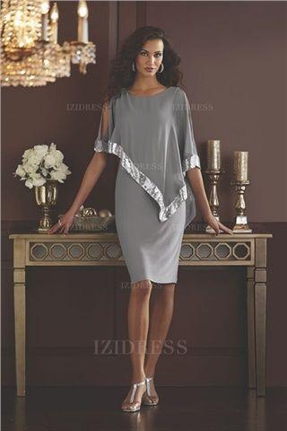 2d2e0b449d7e Sheath/Column Scoop Knee-length Chiffon Mother of the Bride Dress ...