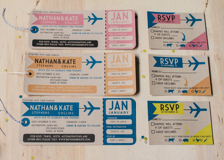 Plane Ticket Wedding Invitations // destination wedding invitations ...