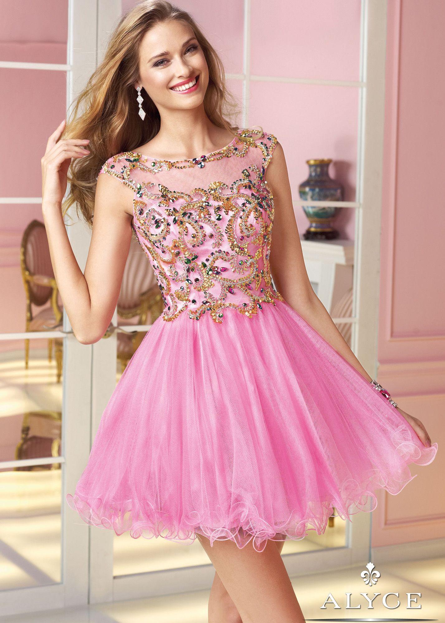 Alyce Paris 3579 - Cosmopolitan Pink Beaded Sheer Neck Sweet 16 ...