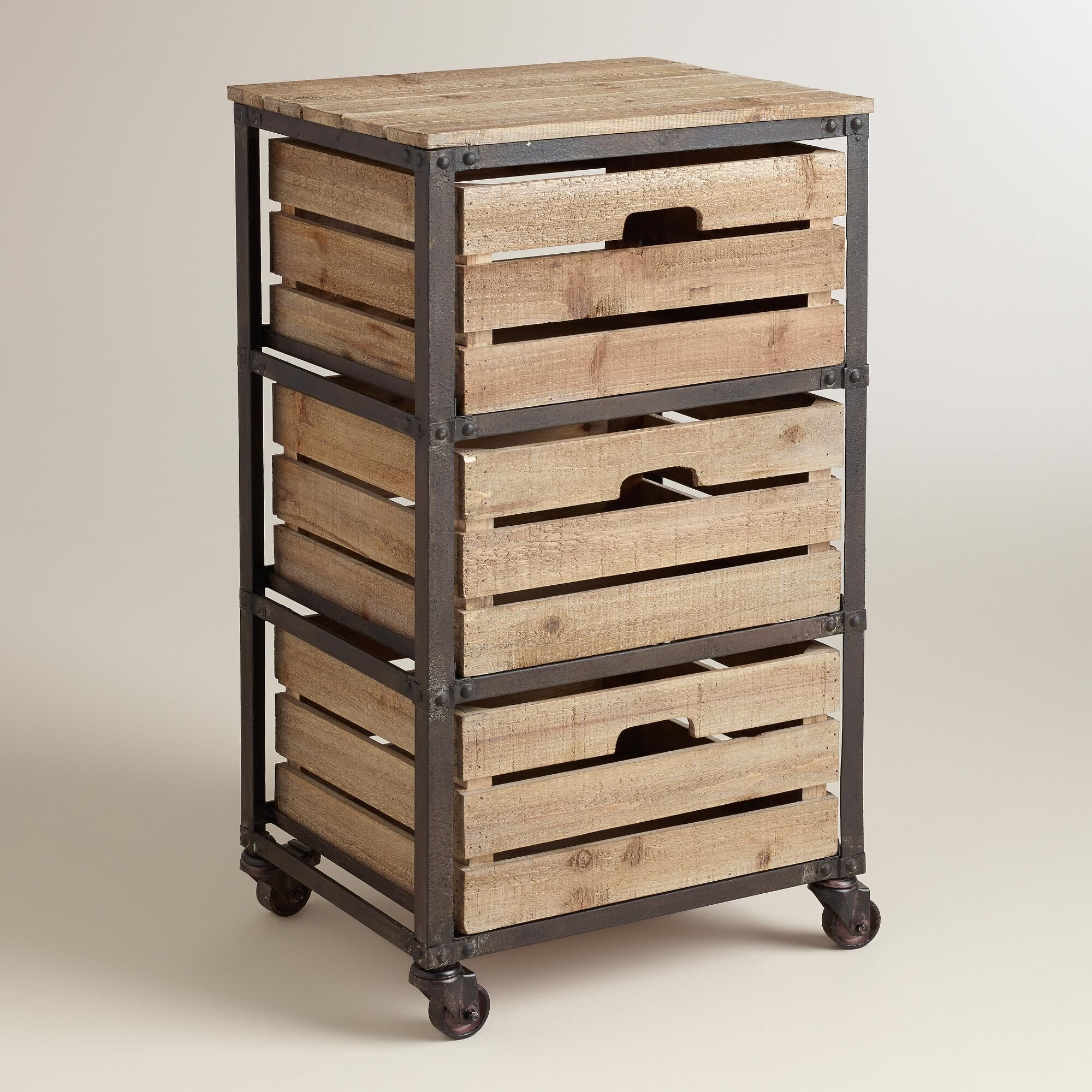 Rolling craft cart with drawers - Metal And Wood 3 Drawer Josef Rolling Cart