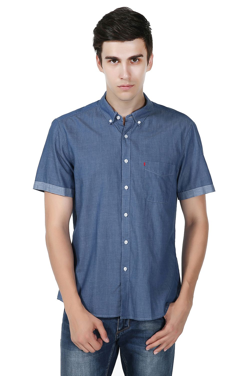 GenericMen Casual Short Sleeve Solid Button-Down Work Shirt