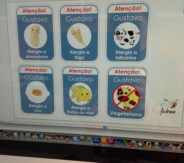 Etiquetas para crianças que tem alergias. Lançamento!!!!!!!!!!!!!!!!!! www.fabeestore.com.br