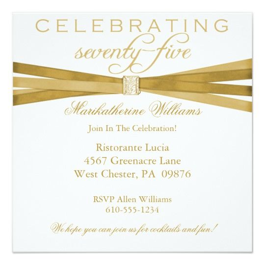 Elegant 75th Birthday Party Invitations 75th Birthday Invitations