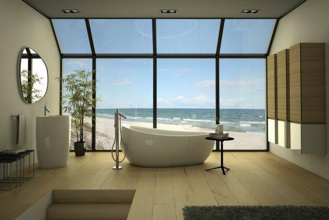 Salle de bain contemporaine avec vue Vue sur mer dans la salle de