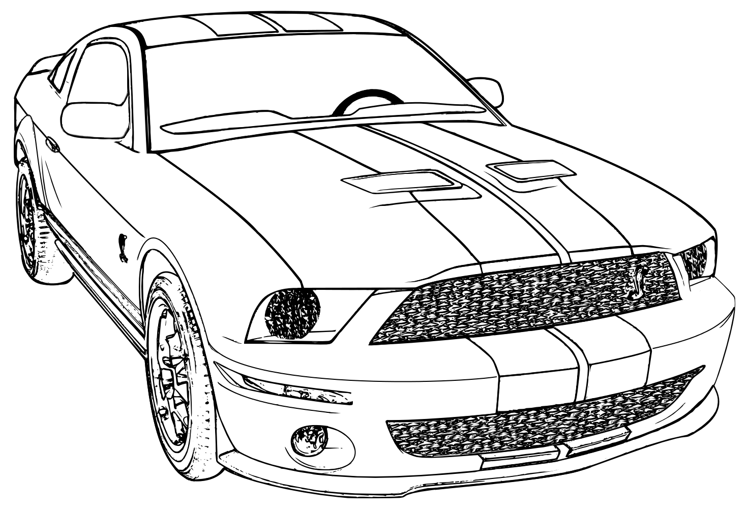 Coloring in the car - Printable Mustang Car Car Coloring Page Ford Mustang