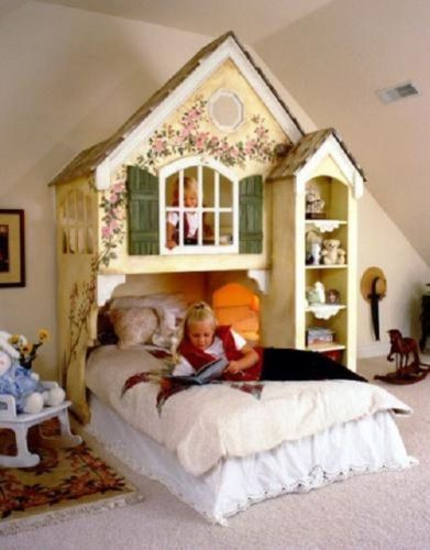 Dollhouse Loft Bed Custom Twin Bedroom Furniture Kids Princess Full Girls New Ebay With Images Kids Loft Beds Kid Beds Dollhouse Bed
